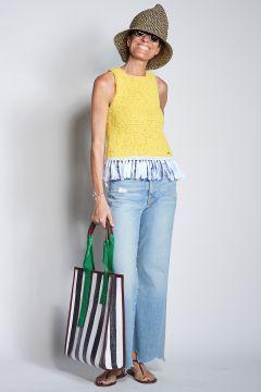 Yellow crochet vest