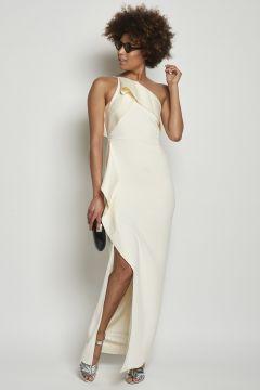 Long dress with drapery