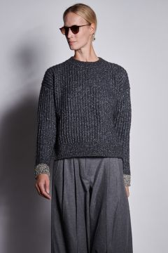 Gray crewneck sweater with lurex details