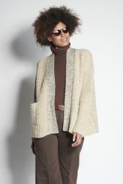 Beige cardigan with lurex edges