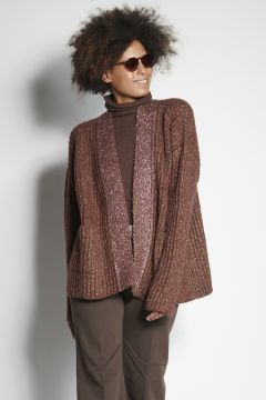 Brown cardigan with lurex edges