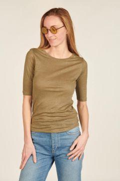 T-shirt Sea verde militare di lino