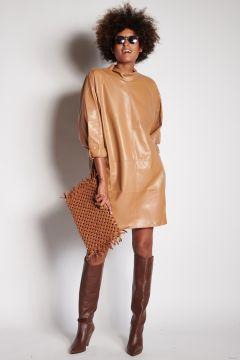 Mini abito cammello in ecopelle