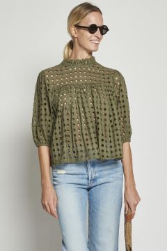 Green perforated cotton shirt