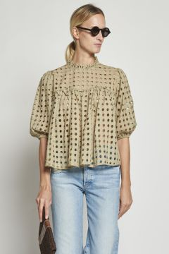 Perforated beige cotton shirt