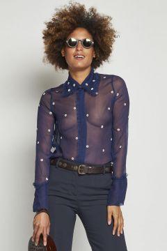 camicia trasparente blu con fiorellini all over