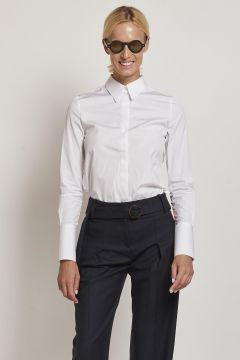 white shirt with ruffles and plastron