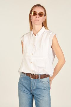 Camicia smanicata bianca