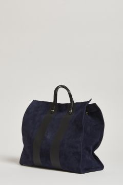 Blue bag with handle and black stripe