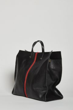 Black leather bag with red and black stripes