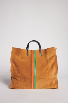 Camel suede bag with handle and orange and green stripes