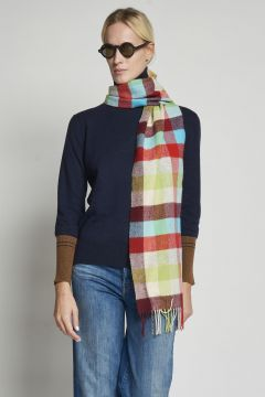 light blue checked scarf
