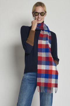 red and blue checked scarf