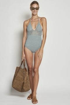 Light blue crochet swimwear