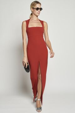 Long red dress with square neckline