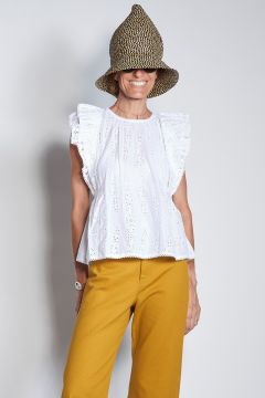 Sangallo lace top with double ruffle sleeves
