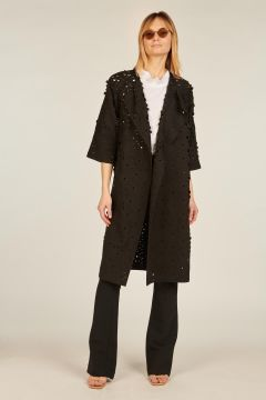 Black coat with lasered flowers
