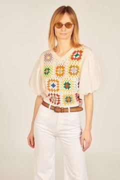 Top with crochet vest