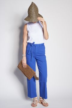 Blue trousers with decorative belt