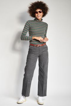 Gray corduroy trousers
