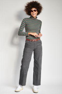 Pantaloni grigio in velluto a coste