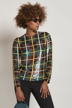 green top with sequins checked