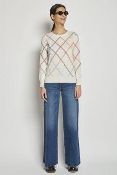 madeleine thompson maglia in cashmere a rombi multicolor