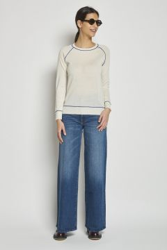 cashmere sweater contrasting piping