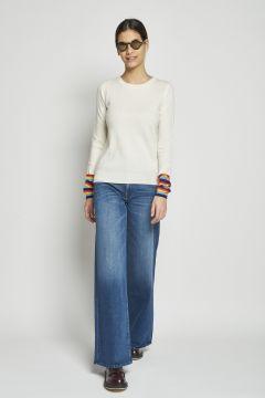 cashmere sweater multicolored cuffs