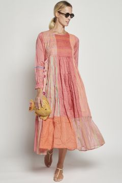 Pink pleated embroidered dress