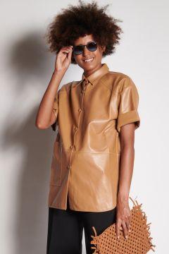 Camicia cammello in ecopelle
