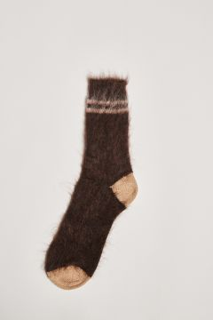 Chocolate socks with ivory stripes