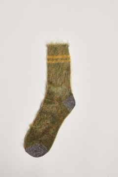 Green socks with yellow stripes