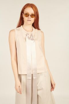 Sleeveless WhiteTop with Tapes