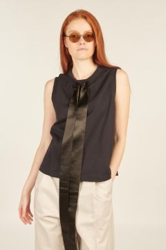 Sleeveless Black Top with Tapes