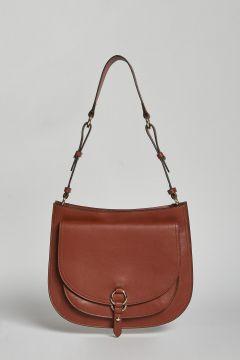 borsa sottospalla in pelle cuoio con doppia tasca