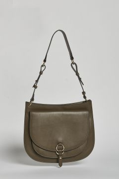military green shoulder bag with double front pocket
