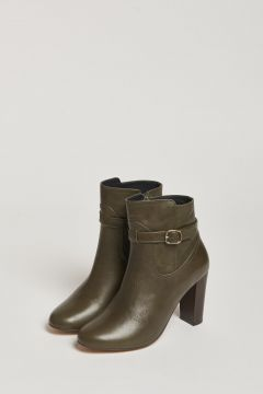 green ankle boot with buckle