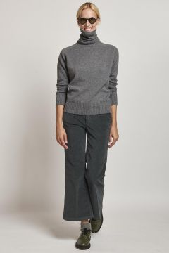 grey trumpet smooth velvet trousers