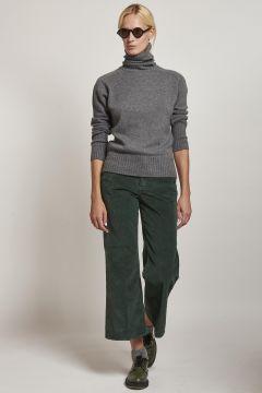 5-pocket corduroy green corduroy trousers