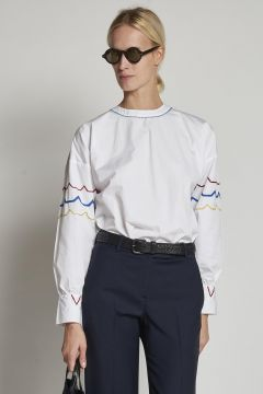 cotton shirt with geometric pattern on sleeves