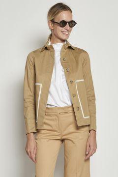 Beige jacket with white pockets edges