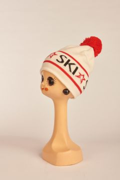 White SKI Beanie hat