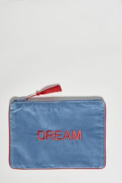 light blue cotton velvet clutch dream