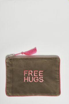 dark sand cotton velvet clutch free hugs