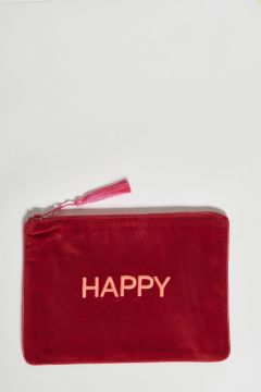 red cotton velvet clutch happy
