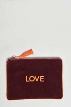 burgundy cotton velvet clutch love