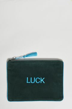 dark green cotton velvet clutch luck