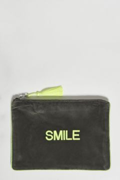 military green cotton velvet clutch smile