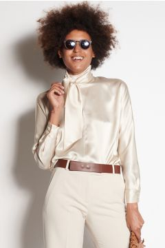 Ivory long-sleeved shirt with scarf